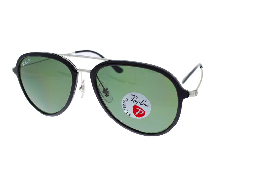 fbadfc6382 RAY-BAN Pilot Black Silver   Green Classic G-15 Polarized RB4298 601 9A 57